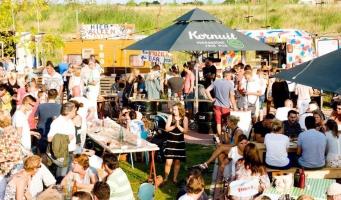 In juni foodtruckfestival in Burgemeester Visserpark