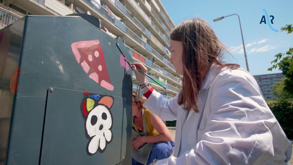 Schilderen afvalcontainer